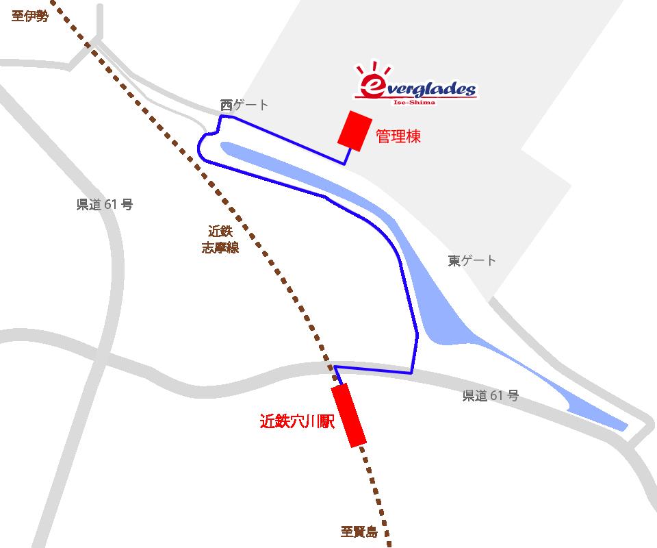 近鉄穴川駅~伊勢志摩エバーグレイズ徒歩近道地図