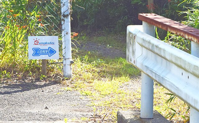 林道への分岐点と看板